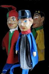 hand carved vintage wooden headed glove puppets